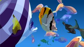 Painted abstraction of floating multicolored tropical fishes. On a blue background stock illustration