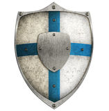Painted aged metal shield with blue cross isolated. Aged metal shield isolated on white Stock Images