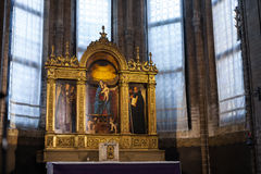 Painted altar in santa maria gloriosa dei frari. VENICE, ITALY - MARCH 30, 2017: painted altar in Basilica di santa maria gloriosa dei frari The Frari. The stock photography