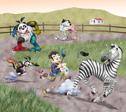Painted animals. Funny illustration. A mad painter is chasing a scared zebra: he's trying to color every black and white animal on the Earth. On the background Stock Photo