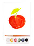 Painted apple, watercolor and brush Royalty Free Stock Photos