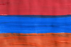Painted Armenian flag. Painted Armenian national tricolor as a background Royalty Free Stock Photo