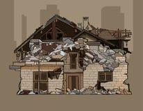 Painted arruinó una casa de dos pisos del ladrillo stock de ilustración