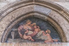 Painted artwork on the wall in Dubrovnik. Old painting on the wall of a Old Town in Dubrovnik, Croatia Stock Photos