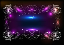 Painted by the author frame of leaves and roses with a glow effect royalty free illustration