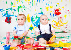 Painted babies royalty free stock photography