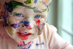 Painted Baby royalty free stock image