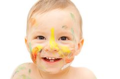 Painted baby face Stock Photos