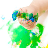Painted baby hand royalty free stock photos