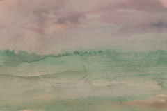 Painted Background. Magenta and green colored painted background, Watercolor with similarity of a landscape during early morning. Fields and sky style royalty free illustration
