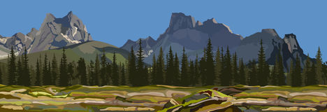 Painted the background a mountain landscape with pine forest Stock Photos