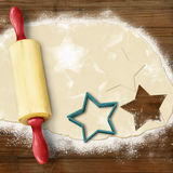 Painted baking background: dough, rolling pin, cookie cutters Royalty Free Stock Photos