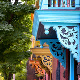 Painted balconies, Montreal Stock Photo