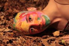 Painted Bald Head Woman Stock Photos