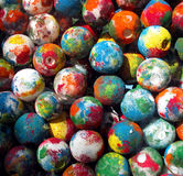 Painted Balls. Plastic foam balls are painted in bright colors Stock Photos