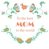 A painted banner with colorful plants, flowers and leaves. Vector illustration with text of a happy mother. Stock Photo