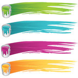 Painted banners. Vector painted banners and paint accessories Stock Photo