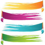 Painted banners. Vector painted banners and paint accessories Stock Images