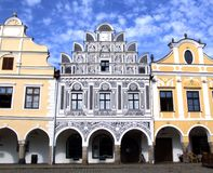 Painted baroque house. With arcades and black mosaic in heritage city zone, Telc, Czech Republic Royalty Free Stock Photos