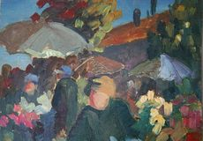 Painted bazaar view. My own oil and pallet knife painting of bazaar view with parasols stock illustration