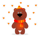 Painted bear with autumn leaves Stock Photos