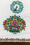 Painted beautiful floral pattern on the facade of an old house, Zalipie ,Poland stock photography