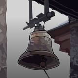 Painted the bell attached to the roof of the building Stock Image