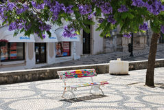 Painted bench in the park, Aveiro, Portugal. AVEIRO, PORTUGAL - JUNE 10, 2017: Painted in different colors a bench under the trees of flowering wisteria in the royalty free stock image