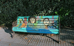 Painted Bench. A public art project by Chilean artists who painted 40 park benches in a neighborhood Stock Photo