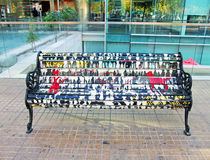 Painted Bench. A public art project by Chilean artists who painted 40 park benches in a neighborhood of Santiago, Chile stock images