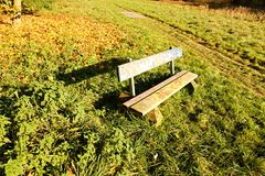 Painted bench. Wooden bench in the park, human hands painted on a wooden bench royalty free stock photography