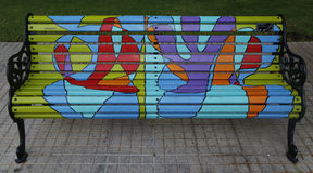 Painted Benches of Santiago in Las Condes, Santiago de Chile Stock Photography