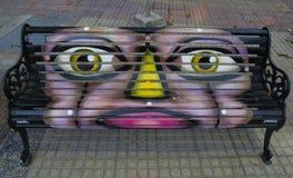 Painted Benches of Santiago in Las Condes, Santiago de Chile Stock Photo