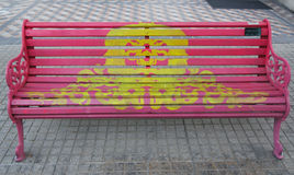 Painted Benches of Santiago in Las Condes, Santiago de Chile Stock Photo