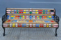 Painted Benches of Santiago in Las Condes, Santiago de Chile Royalty Free Stock Images