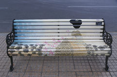 Painted Benches of Santiago in Las Condes, Santiago de Chile Royalty Free Stock Photo