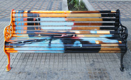 Painted Benches of Santiago in Las Condes, Santiago de Chile Stock Images
