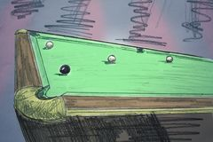 Painted billiard table Royalty Free Stock Photo