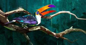 Painted bird toucan sitting on a branch. Sketch bird toucan sitting on a branch royalty free illustration
