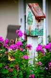 Painted Birdhouse. Butterfly Haven in Spring Stock Photo