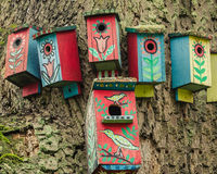 Painted birdhouse Royalty Free Stock Photography