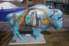 Painted Bison, Community art project, Winter Olympics, state capitol, Salt Lake City, UT Stock Images