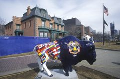 Painted Bison, Community art project, Winter Olympics, state capitol, Salt Lake City, UT Stock Image