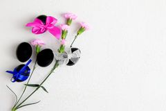 Black Easter eggs and pink carnation flowers on a white background side view royalty free stock photo