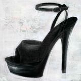 Painted black high heel on texture Royalty Free Stock Images