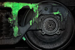 Painted black wheel of a train Royalty Free Stock Photos