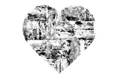 Painted Black and White Abstract Heart Royalty Free Stock Photos