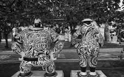 Painted black and white statues in Kaohsiung  (Gao Xiong, Taiwan). Shoot in Kaohsiung Boer (Bo Er) Art Area. The paint shows the old street view of this city Stock Photo