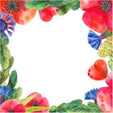 Painted Blank Watercolor Flower Frame Square Border Background. royalty free illustration