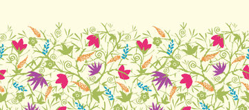 Painted blossoming branches horizontal seamless Stock Images